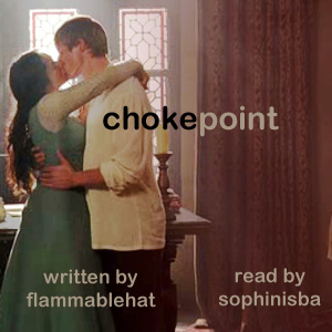 Chokepoint podfic cover: Gwen and Arthur embracing